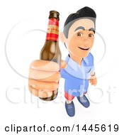 Poster, Art Print Of 3d Casual Man Holding Up A Beer Bottle On A White Background