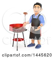 Clipart Of A 3d Casual Man Grilling On A Barbeque On A White Background Royalty Free Illustration