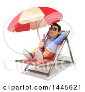 Clipart Of A 3d Casual Man Drinking A Beer On A Beach Chair On A White Background Royalty Free Illustration