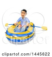 Clipart Of A 3d Casual Man In A Raft On A White Background Royalty Free Illustration