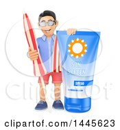 3d Casual Man With A Giant Bottle Of Sun Screen And An Umbrella On A White Background