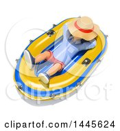 Clipart Of A 3d Casual Man Napping In A Raft On A White Background Royalty Free Illustration