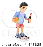 Clipart Of A 3d Casual Man Standing On A Scale With A Beer And Cheeseburger On A White Background Royalty Free Illustration