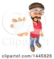 Clipart Of A 3d Male Movie Director Holding Up A Business Card On A White Background Royalty Free Illustration by Texelart