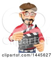 Clipart Of A 3d Male Movie Director Holding A Clapperboard On A White Background Royalty Free Illustration