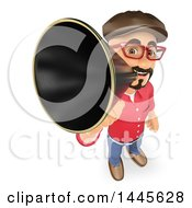 Clipart Of A 3d Male Movie Director Speaking Through A Megaphone On A White Background Royalty Free Illustration