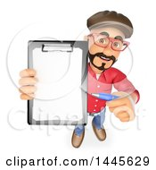 Clipart Of A 3d Male Movie Director Holding Up A Contract On A White Background Royalty Free Illustration