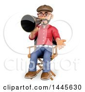 Clipart Of A 3d Male Movie Director Sitting In A Chair And Speaking Through A Megaphone On A White Background Royalty Free Illustration
