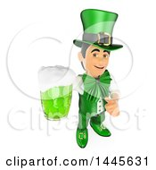 Clipart Of A 3d St Patricks Day Man Holding Up A Green Beer And A Thumb On A White Background Royalty Free Illustration