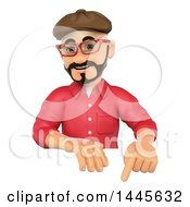 Clipart Of A 3d Man Wearing A Beret Hat And Pointing Down Over A Sign On A White Background Royalty Free Illustration