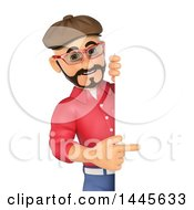 Clipart Of A 3d Man Wearing A Beret Hat And Pointing Around A Sign On A White Background Royalty Free Illustration