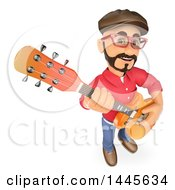 Clipart Of A 3d Male Guitarist On A White Background Royalty Free Illustration