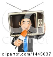 3d Male Reporter With A Tv Around His Head On A White Background