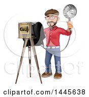 Clipart Of A 3d Male Photographer Using A Vintage Camera On A White Background Royalty Free Illustration