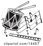 Drumsticks On A Drum And A Flute Over Musical Notes Clipart Illustration