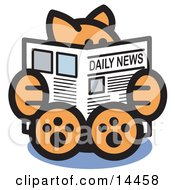 Smart Ginger Cat Sitting And Reading The Newspaper Clipart Illustration