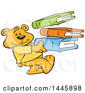 Clipart Of A Cartoon Bear Cub Mascot Carrying A Stack Of Books Royalty Free Vector Illustration