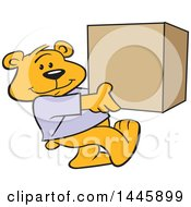 Clipart Of A Cartoon Bear Mascot Carrying A Box Royalty Free Vector Illustration