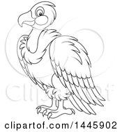 Cartoon Black And White Lineart Vulture Bird