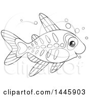 Cartoon Black And White Lineart Cute Xray Fish