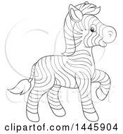 Poster, Art Print Of Cartoon Black And White Lineart Cute Baby Zebra Walking