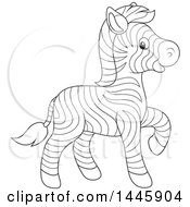 Cartoon Black And White Lineart Cute Baby Zebra Walking