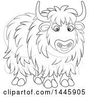 Cartoon Black And White Lineart Yak