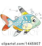 Clipart Of A Cartoon Cute Xray Fish Royalty Free Vector Illustration