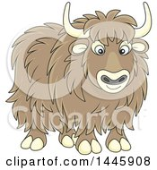 Clipart Of A Cartoon Yak Royalty Free Vector Illustration by Alex Bannykh