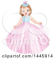 Clipart Of A Cute Princess Girl Royalty Free Vector Illustration