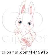Clipart Of A Cute Blue Eyed White Baby Bunny Rabbit Running Upright Royalty Free Vector Illustration by Pushkin