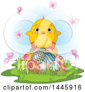 Poster, Art Print Of Cute Blue Eyed Baby Chick Sitting On Easter Eggs Surrounded By Butterflies