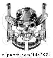 Clipart Of A Black And White Woodcut Etched Or Engraved Cowboy Skull With Six Shooter Pistols Royalty Free Vector Illustration