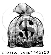Clipart Of A Black And White Engraved Or Woodcut Styled USD Burlap Money Bag Sack Royalty Free Vector Illustration