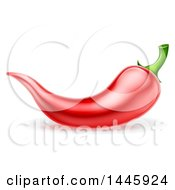 Clipart Of A Red Chile Pepper Royalty Free Vector Illustration by AtStockIllustration