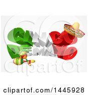 3d Mexican Flag Colored Happy Cinco De Mayo Design With A Sombrero Hat And Maracas