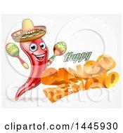 3d Orange Happy Cinco De Mayo Text With A Sombrero And Maracas