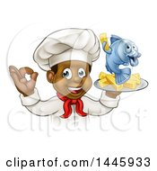 Clipart Of A Cartoon Happy Young Black Male Chef Holding A Fish Character And Chips On A Tray Royalty Free Vector Illustration