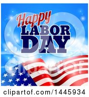 Clipart Of A Waving American Flag With Flares Under Happy Labor Day Text Royalty Free Vector Illustration