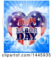 Happy Labor Day American Flag Heart Over Clouds Rays And Flares