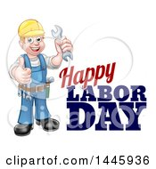 Poster, Art Print Of Cartoon Full Length White Male Mechanic Wearing A Hard Hat Holding A Spanner Wrench And Giving A Thumb Up By Happy Labor Day Text