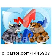 Clipart Of A Muscular Brown Bear Man And Bull Ready To Fight Over A Graph With Arrows Royalty Free Vector Illustration