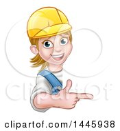 Clipart Of A Cartoon Happy White Female Worker Wearing A Hardhat And Pointing Around A Sign Royalty Free Vector Illustration