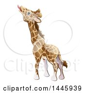 Clipart Of A Cartoon Giraffe Stretching His Tongue Out To Eat Royalty Free Vector Illustration by AtStockIllustration