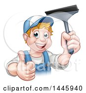 Clipart Of A Cartoon Happy White Male Window Cleaner In Blue Giving A Thumb Up And Holding A Squeegee Royalty Free Vector Illustration by AtStockIllustration