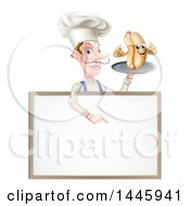 White Male Chef With A Curling Mustache Holding A Hot Dog On A Platter And Pointing Down Over A White Menu Board Sign