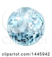 Clipart Of A Sparkly Blue Disco Mirror Ball On A White Background Royalty Free Vector Illustration