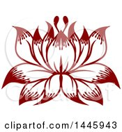 Clipart Of A Beautiful Lotus Water Lily Flower Royalty Free Vector Illustration by AtStockIllustration