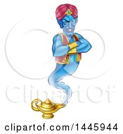 Clipart Of A Blue Genie With An Evil Grin Emerging From His Lamp Royalty Free Vector Illustration by AtStockIllustration