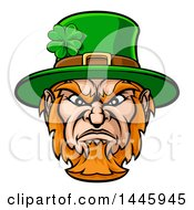 Cartoon Tough Angry St Patricks Day Leprechaun Mascot Face
